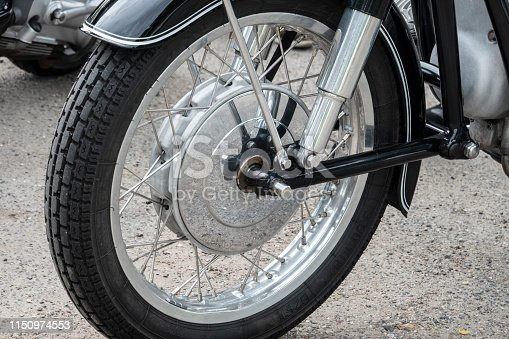 Front wheel with spokes of old german motorcycle