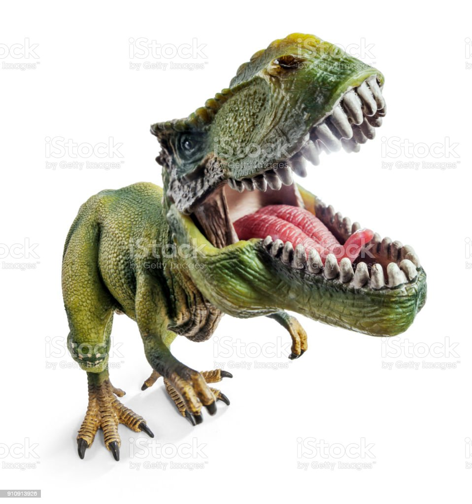 フロント ティラノサウルス ワイド ビュー、クリッピング パスと白い背景で隔離の恐竜グッズ。 ストックフォト