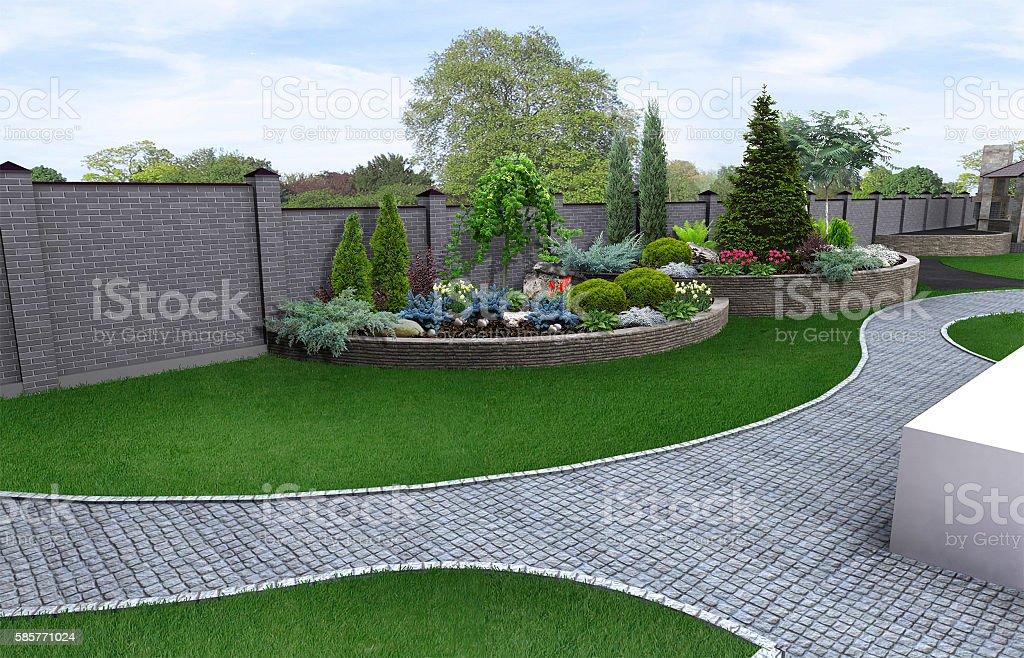 Vorgarten gartenbau Hintergrund, 3D render – Foto