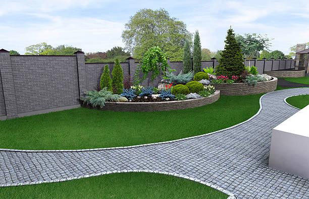 vorgarten gartenbau hintergrund, 3d render - poison ivy pflanzen stock-fotos und bilder