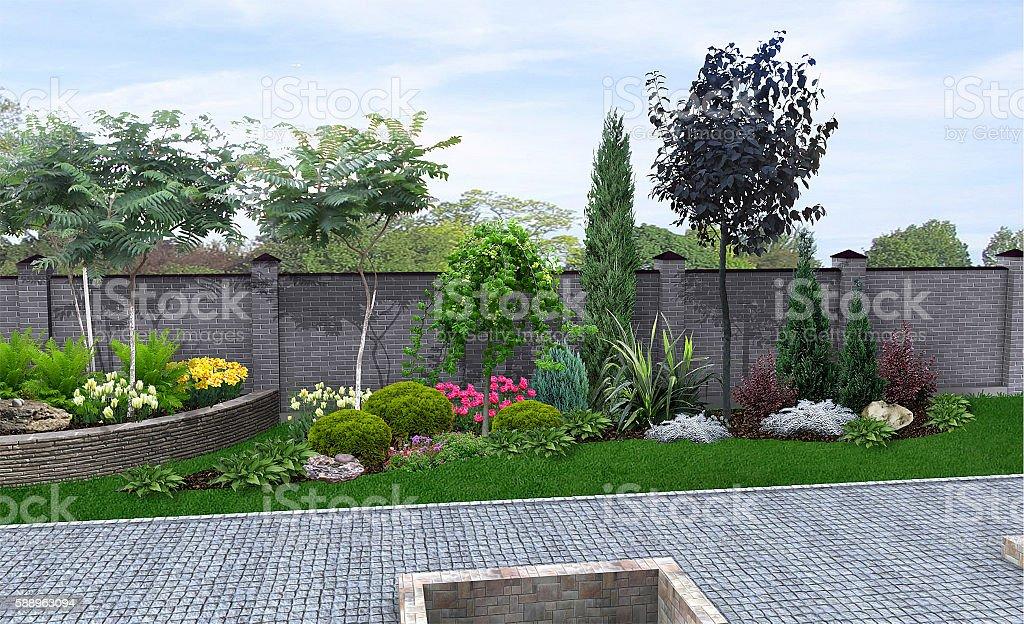Front yard horticultural background 3d render stock photo for Amenagement jardin 3d