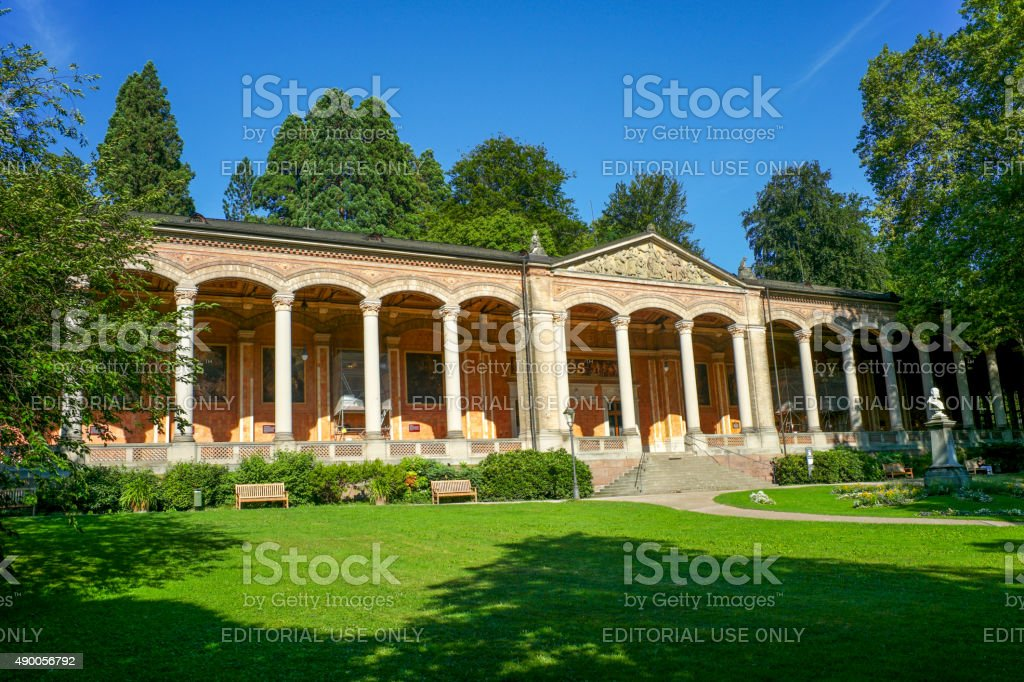 Front yard of historical building at baden-baden germany stock photo