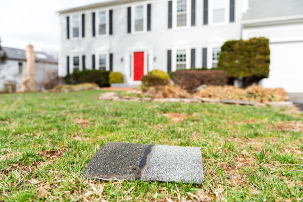 front yard of house during day aftermath after storm roof tile shingle lying down on grass, damage closeup - storm stock photos and pictures