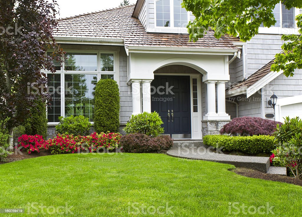 Front yard of modern house in spring stock photo