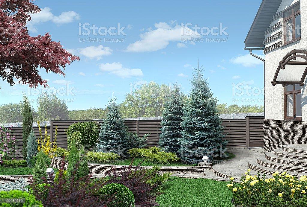 Vorgarten panorama plant die Zusammensetzung der Gebietsgruppen, Umgebung 3D render – Foto
