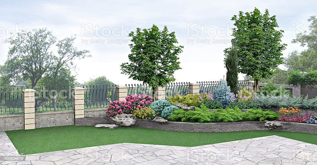 Vorgarten Anpflanzung eines Gartens, 3d-Abbildung – Foto
