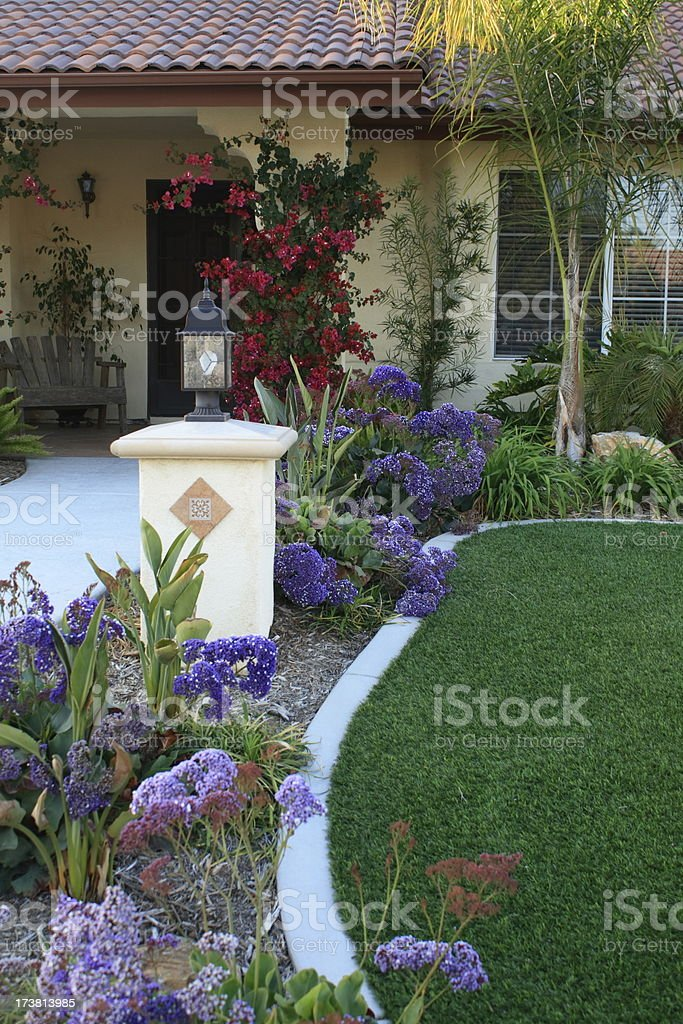 Front Yard Steps With Artificial Turf stock photo