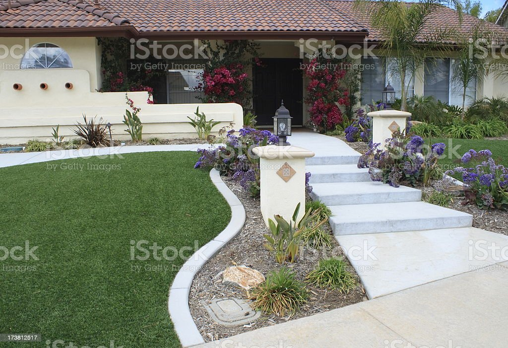 Front Yard With Artificial Turf stock photo