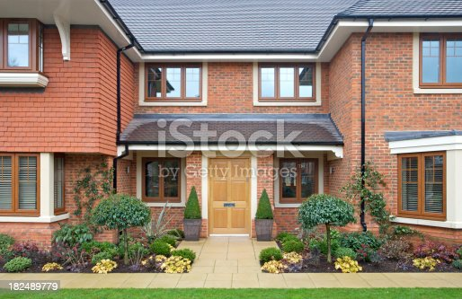 istock frontage of a modern expensive new house 182489779