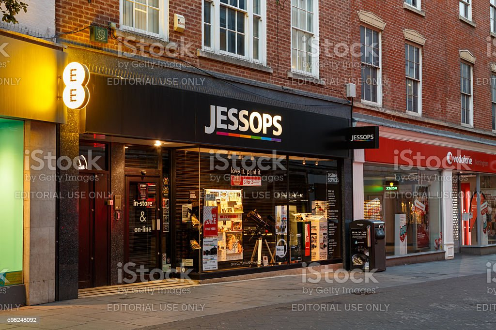 Frontage of the Jessops camera store at night, Nottingham stock photo