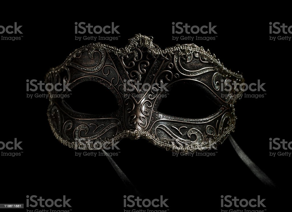 frontal carnival mask on black royalty-free stock photo