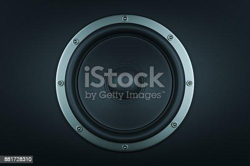 istock Frontal image of audio speaker - 3d render 881728310