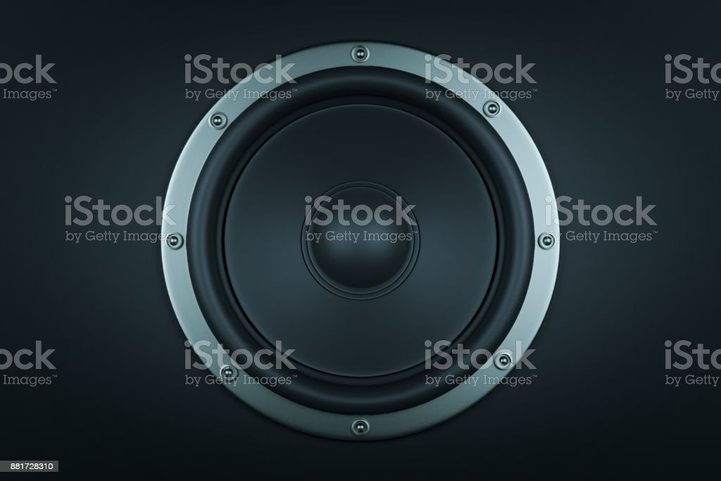 Frontal image of audio speaker - 3d render stock photo