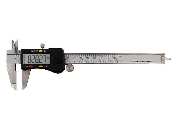 Frontal image of electronic digital caliper stock photo