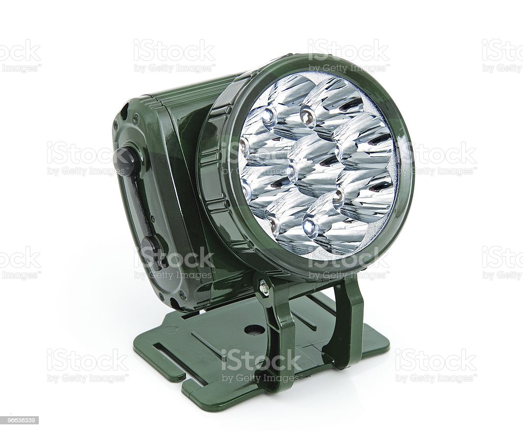 Frontal LED torch stock photo