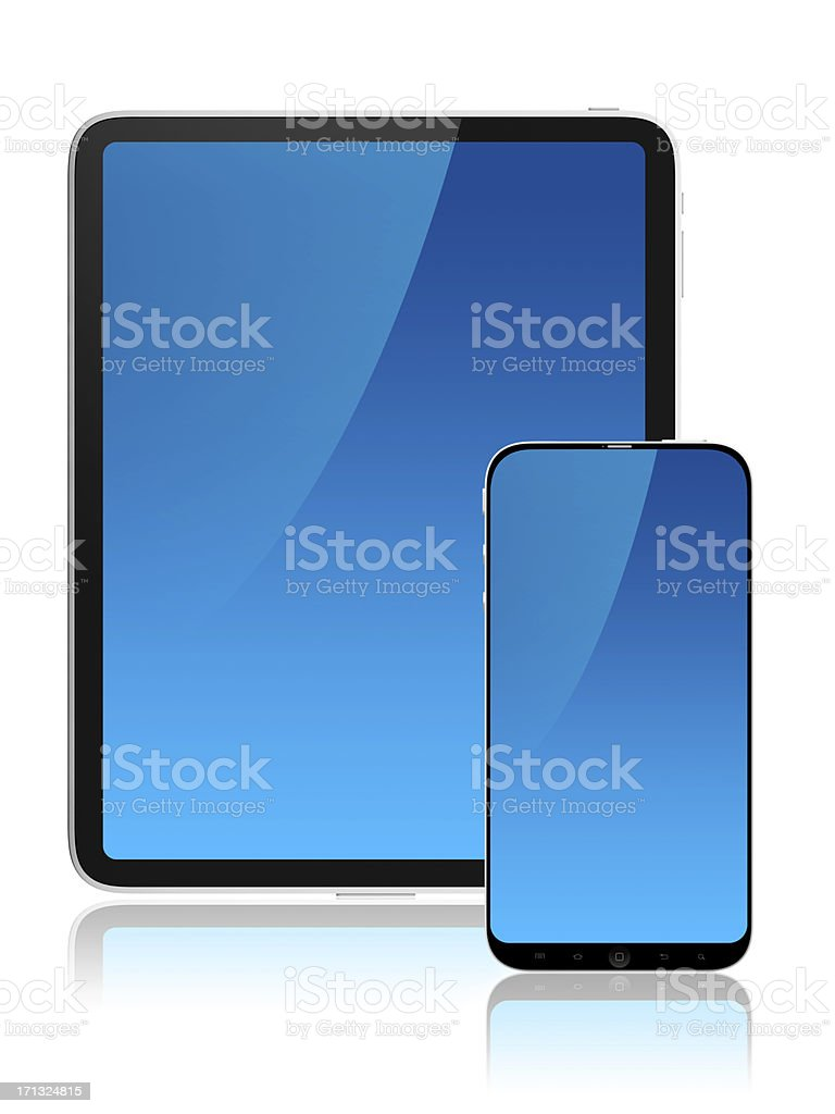 Frontal screens of tablet and mobile stock photo