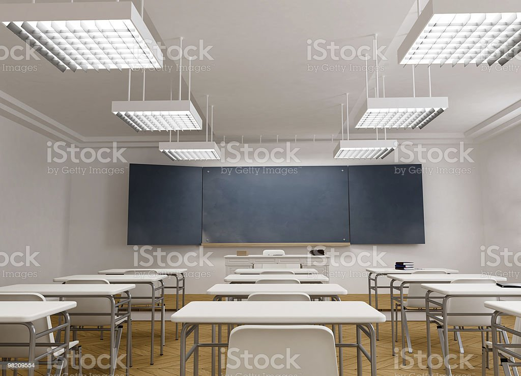 Frontal view of a Classroom royalty-free stock photo