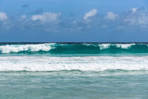 frontalansicht einer rollenden welle am strand - roll tide stock-fotos und bilder