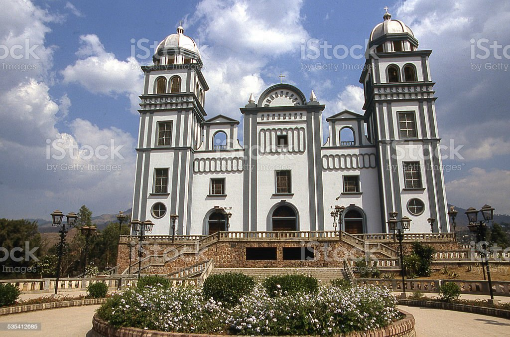 Frontal view of Gothic Basilica of Suyapa Tegucigalpa Honduras stock photo