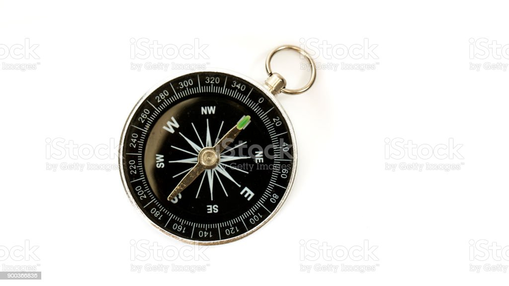 Frontal view of isolated compass stock photo