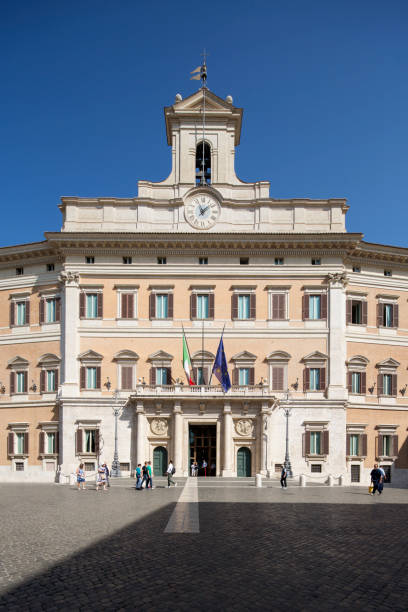 Frontal view of Palazzo Montecitorio stock photo