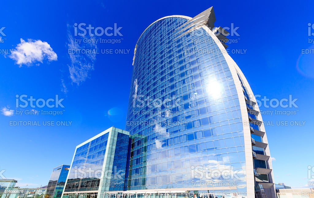 Frontal view of the W Barcelona Hotel stock photo