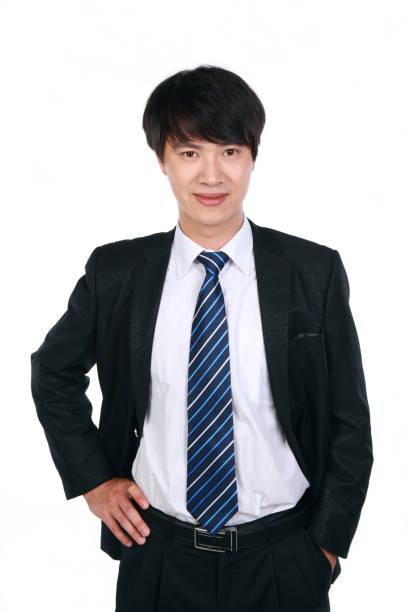 Ansicht des junge asiatische Geschäftsmann auf weißem Hintergrund – Foto