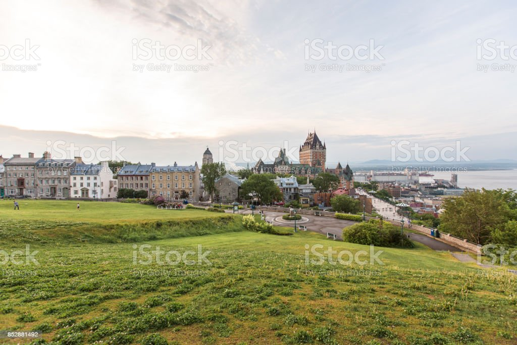 Frontenac Castle in Old Quebec City hotels and architecture concept stock photo