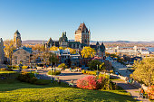istock Frontenac Castle in Old Quebec City in the beautiful autumn season 1075083646