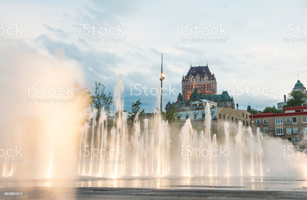 Frontenac Castle in Old Quebec City with water on the bottom stock photo