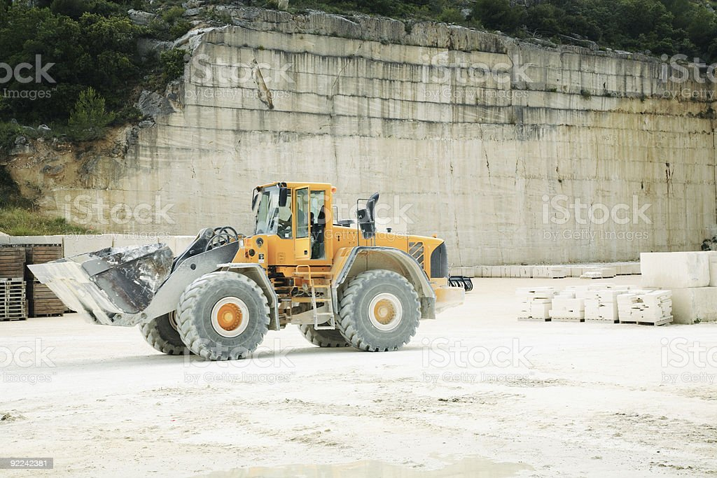 Front-end Loader in a Stone Quarry stock photo