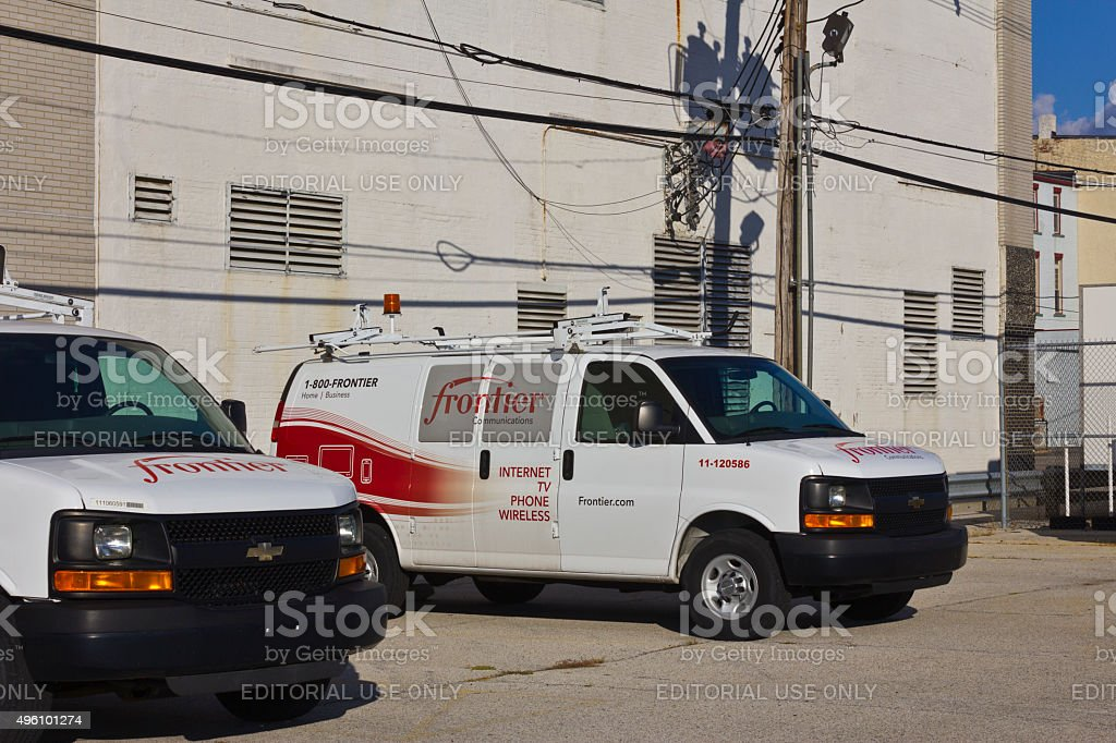 Lafayette, IN - November 2015: Frontier Communications Vehicles stock photo