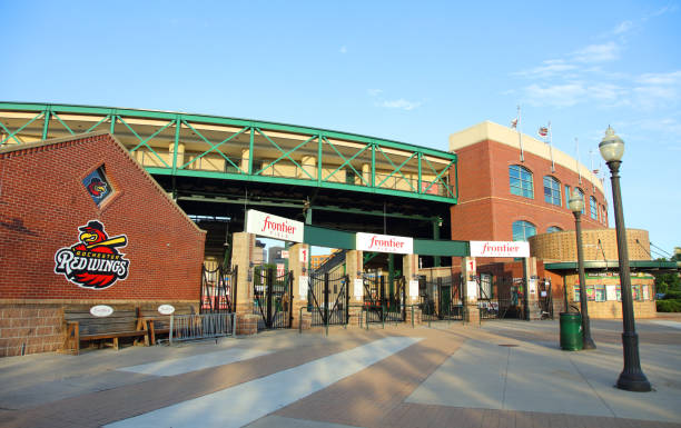 Frontier Field Rochester, New York, USA - June 17, 2017:  Daytime view of the front entrance to Frontier Field home of the Rochester Red Wings  top minor league affiliate of the Minnesota Twins frontier field stock pictures, royalty-free photos & images