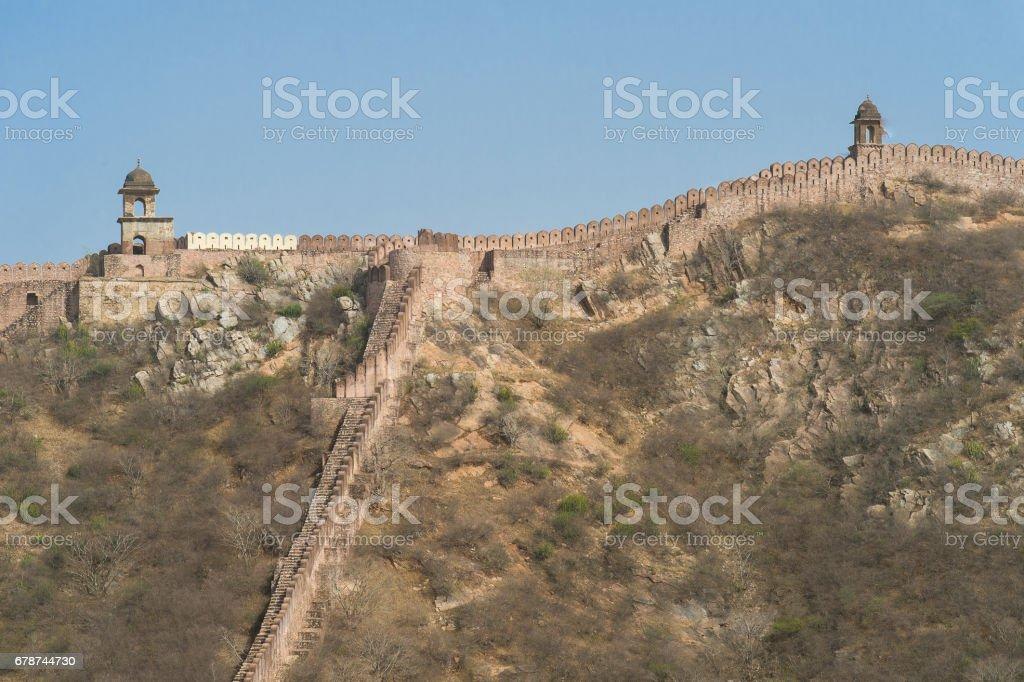Amber Fort Jaipur, Rajasthan, Hindistan sınır duvara. royalty-free stock photo
