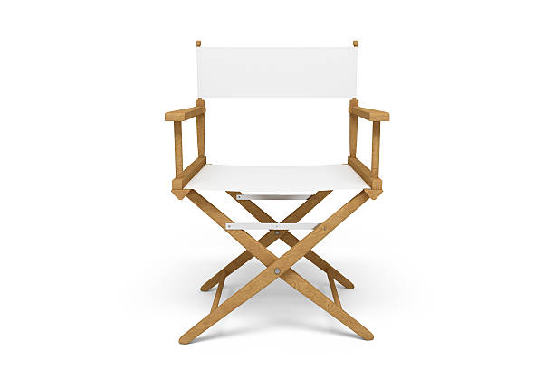 Frontside of a Director's Chair - Wooden / White (Isolated) Frontside of a wooden / white director's chair isolated on white. director stock pictures, royalty-free photos & images