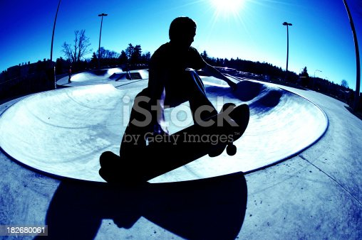 istock Frontside Silhouette Grab - Blue 182680061