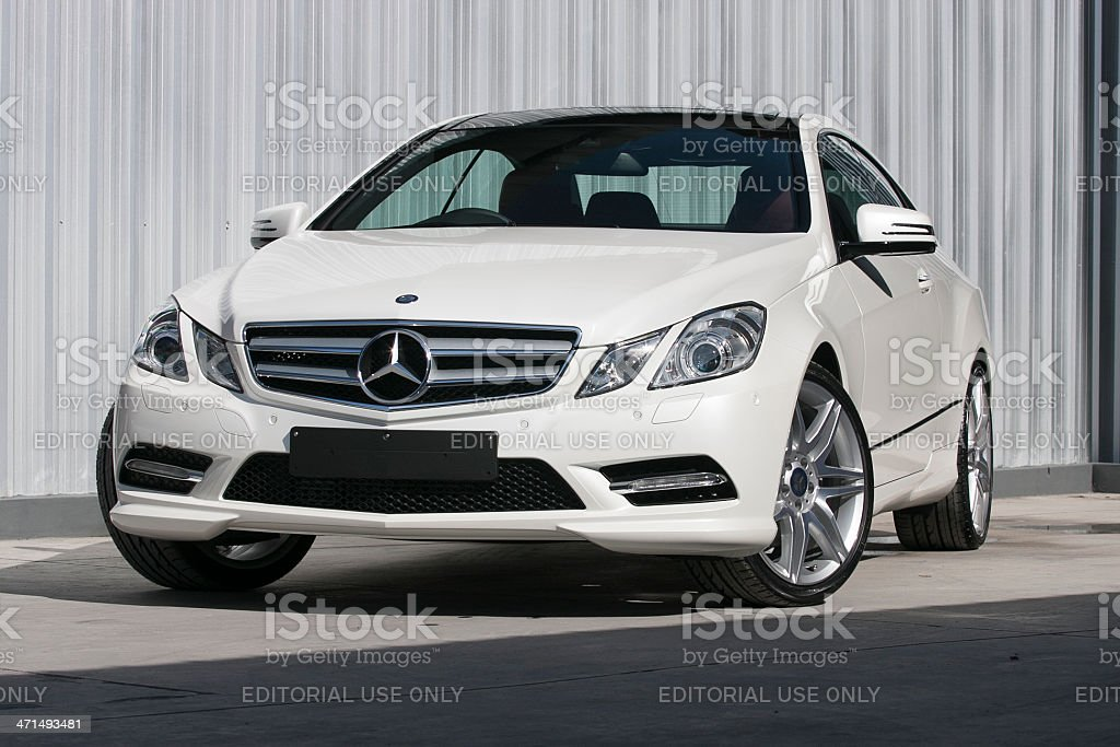 Frontview of a Mercedes-Benz E 200 coupe stock photo