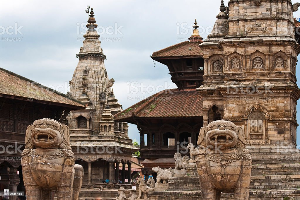 A front-view of the Bhaktapur Durbar Square royalty-free stock photo