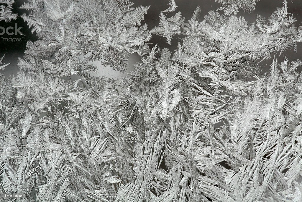 Frost and Ice Crystals On Window In Winter royalty-free stock photo