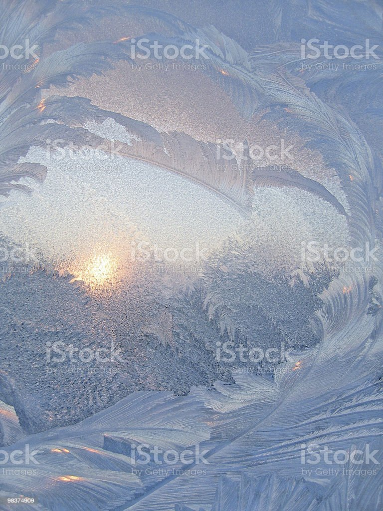 Frost and sun on winter window royalty-free stock photo