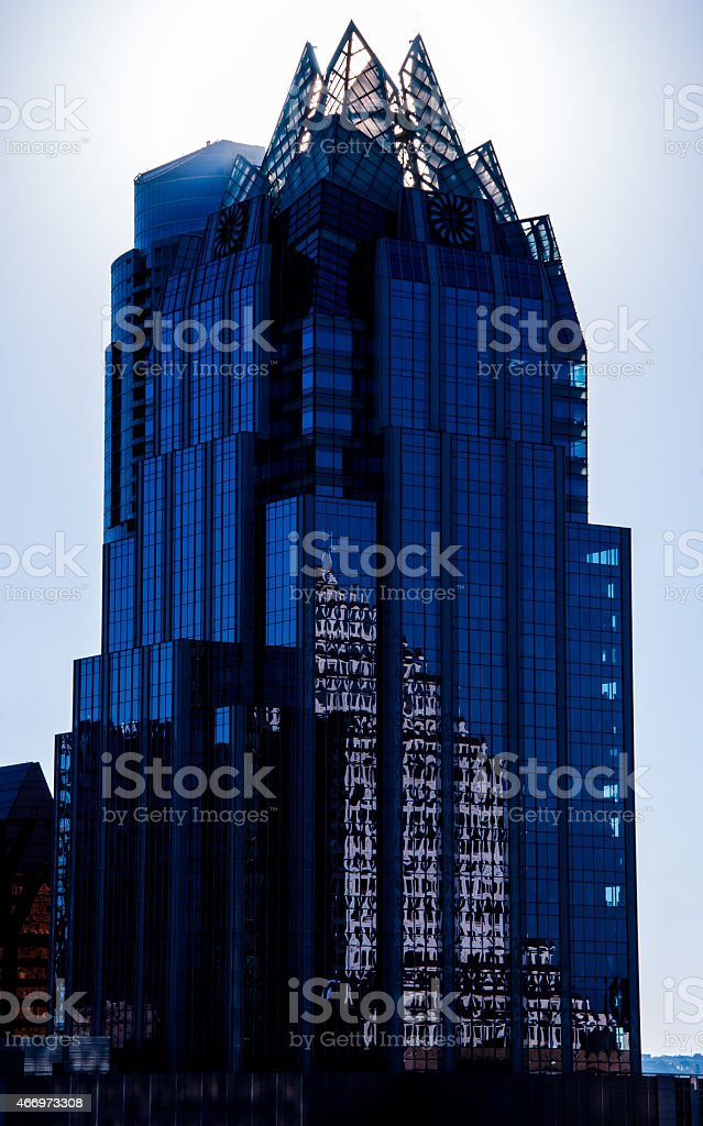 Frost Bank Tower Austin Hipster Effect Skyscraper Alone stock photo