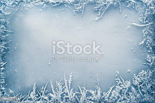 istock Frost Crystal Border on Ice 599477714