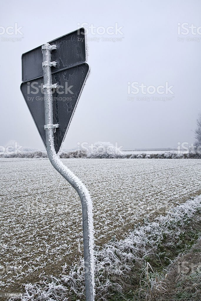 Frost give way sign royalty-free stock photo