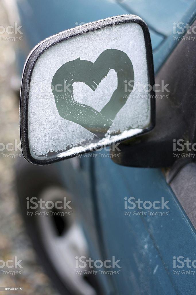 Frost Heart Auto Mirror royalty-free stock photo