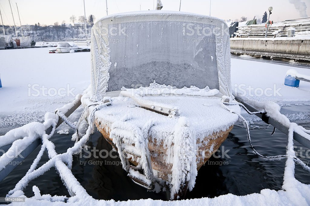 Frost in the harbor. royalty-free stock photo