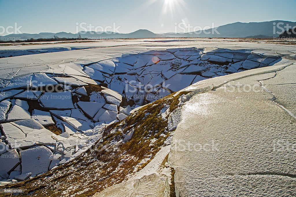 Frost lake Cerknica stock photo