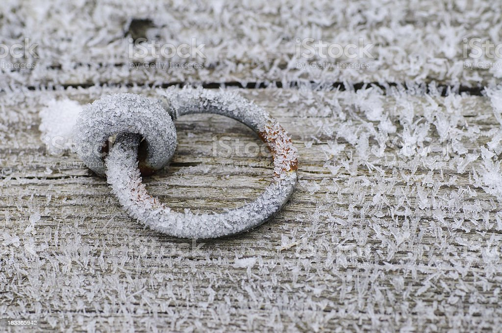 Frost on Rusty Ring for Tying Boats at the Pier royalty-free stock photo