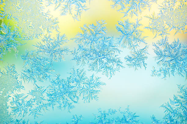 Frost en una ventana de vidrio - foto de stock