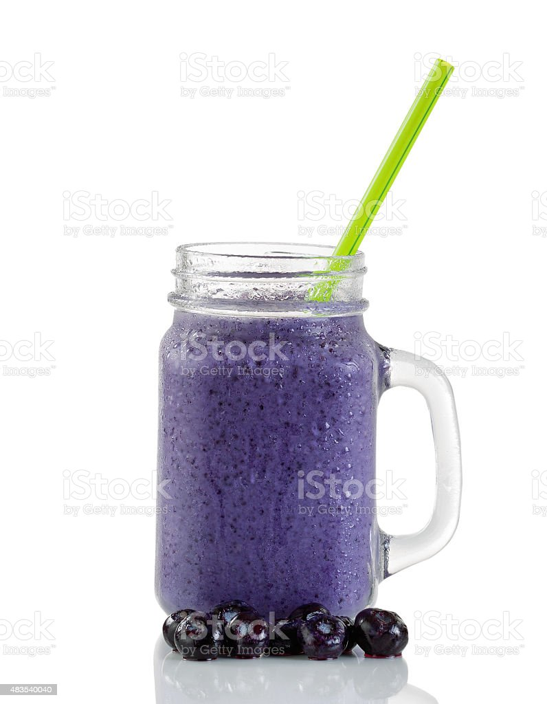Frosted blueberry smoothie isolated on white background stock photo