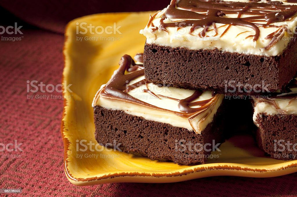 Frosted brownies on yellow plate royalty-free stock photo